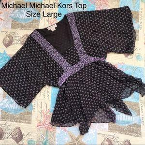 MICHAEL Michael Kors Sheer Tie Waist Top Large